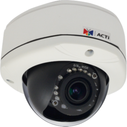 ACTI Camera IP 1MP Outdoor Dome with D/N, Adaptive IR