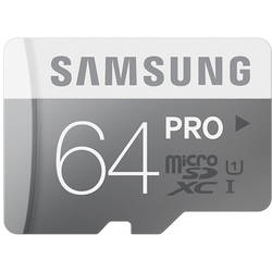 Samsung MICRO SDXC 64GB PRO CLASS10, UHS-1, READ 90MB/S - WRITE 80MB/S WITH ADAPTER