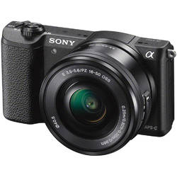Aparat foto Mirrorless A5100LB 24.3MP, Black + Obiectiv Sony SELP1650, 16-50mm, Black