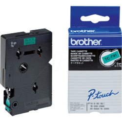 Brother TC791 Tapes 9mm Black ON Green Ribbon Cartridge