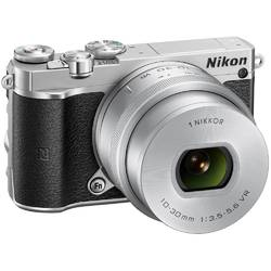 Aparat foto Mirrorless Nikon 1 J5, 20.8 MP, Silver + Obiectiv VR 10-30mm PD-Zoom