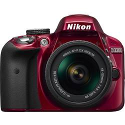 Nikon Aparat foto DSLR D3300, 24.2MP, Red + Obiectiv AF-P 18-55mm VR