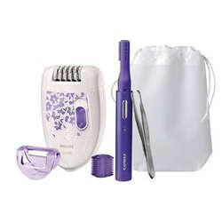 Philips Set epilator Satinelle HP6543/00, 20 puncte de prindere, 2 viteze, alb/mov