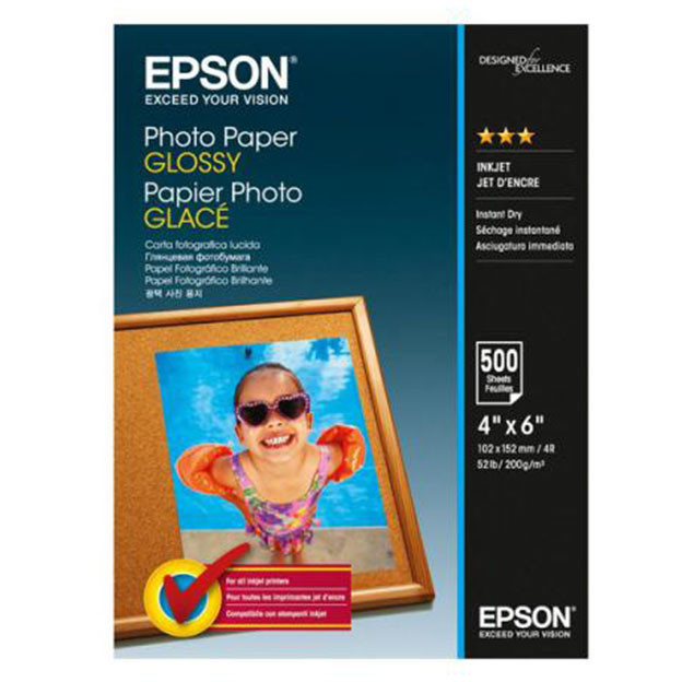 EPSON S042549, PHOTO PAPER GLOSSY 4x6 500 SHEETS, C13S042549