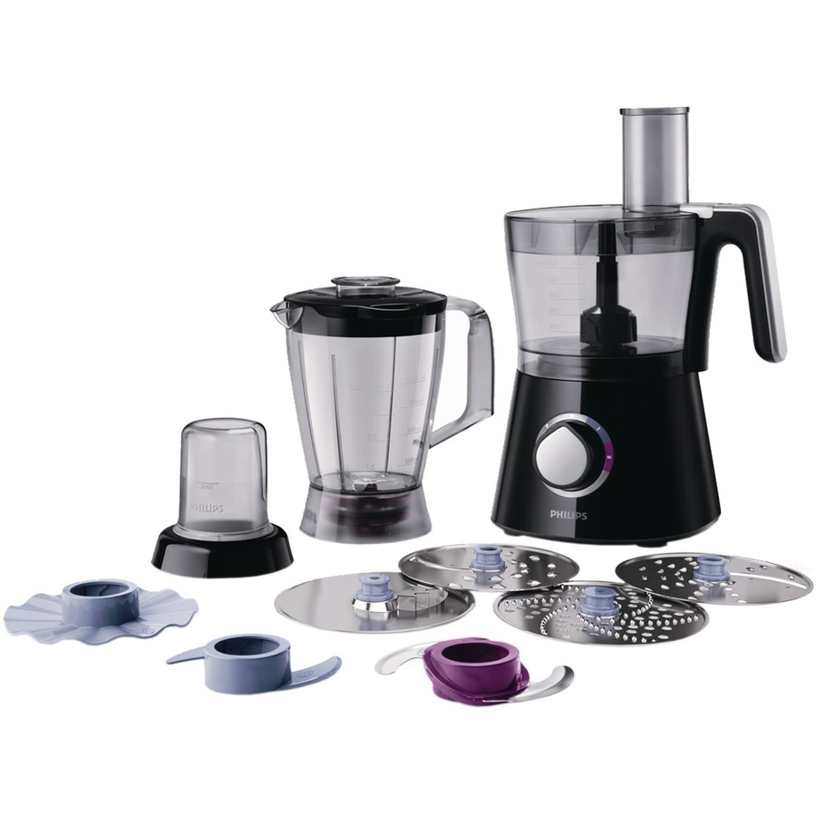 Robot de bucatarie Viva Collection HR7762/90, 750 W, bol 1.5 l, blender 1 l, 2 viteze + Pulse, negru