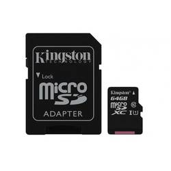 Micro Secure Digital Card Kingston, 64GB, SDC10G2/64GB, Clasa 10, R/W 45/10 MB/s, cu adaptor SD