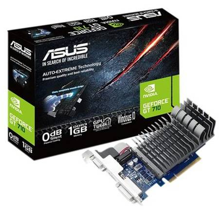 Placa video Asus NVIDIA 710-1-SL, GT710, PCI-E 2.0, 1024MB DDR3, 64bit, 954 Mhz, 1800 Mhz, VGA, DVI, HDMI, HEATSINK