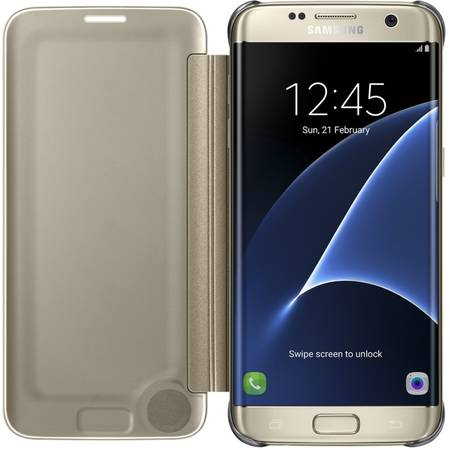 Husa Clear View Cover pentru Samsung Galaxy S7 Edge (G935), EF-ZG935CFEGWW Gold