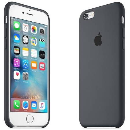 Capac protectie spate Apple Silicone Case Charcoal Black pentru iPhone 6s