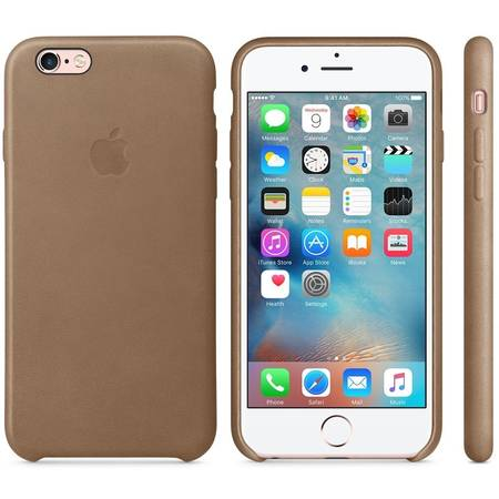 Capac protectie spate Apple Leather Case Premium Brown pentru iPhone 6s