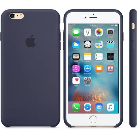 Capac protectie spate Apple Silicone Case Midnight Blue pentru iPhone 6s Plus