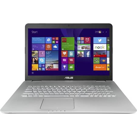 "Laptop ASUS N751JK-T7085P, 17.3"" FHD IPS, Intel Core i7-4710HQ 6M Cache, up to 3.50 GHz, 8GB, 1TB, GeForce GTX 850M 4GB, Win 8.1 Pro, Grey"
