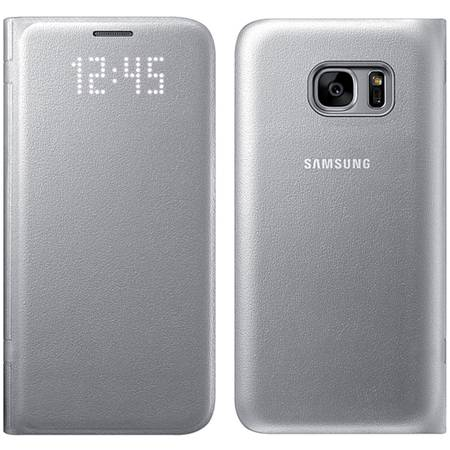 Husa protectie Led View Cover pentru Samsung Galaxy S7 (G930), EF-NG930PSEGWW Silver