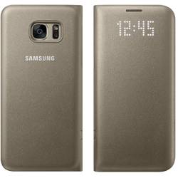 Husa protectie Led View Cover pentru Samsung Galaxy S7 Edge (G935), EF-NG935PFEGWW Gold