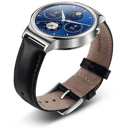 Smartwatch HUAWEI W1 Steel, Black Leather Strap