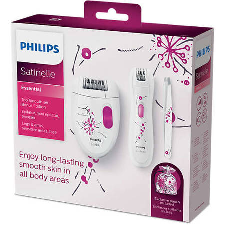 Philips Epilator Satinelle Essential TRIO KIT HP6550/01, retea, alb/mov