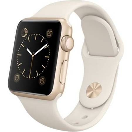 Smartwatch Apple 38 MM, carcasa din aluminiu auriu, curea Sport Antique alba