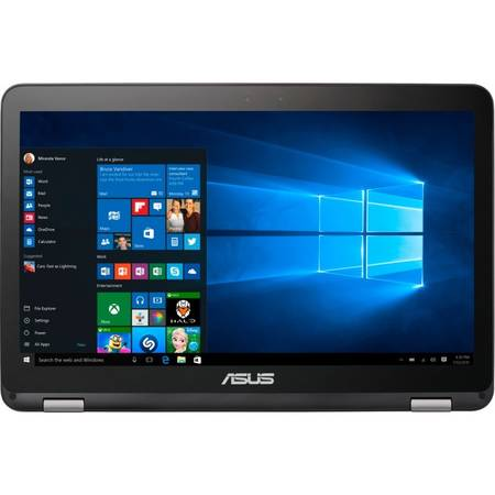 "Laptop ASUS VivoBook Flip TP501UA, 15.6"" FHD Touch, Intel Core i7-6500U (4M Cache, up to 3.10 GHz), 4GB, 1TB + 128GB SSD, GeForce 940M 2GB, Win 10 Home, Glacier Gray"