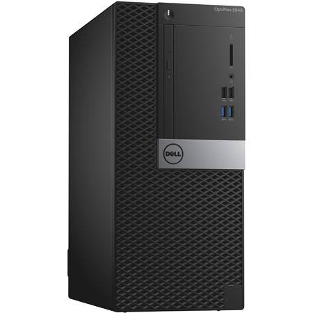 Sistem Desktop Dell Optiplex 5040MT, Intel Core i5-6500 Procesor,  Intel Graphics, RAM 4GB 1600MHz DDR3L, HDD 500GB 7200rpm, DVD+/-RW, Mouse+ Tastatura, Windows 7 Pro (64Bit Windows 10 License, Media)/W10P 64