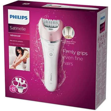Philips Epilator Satinelle Advanced Wet & Dry BRE640/00, acumulator, discuri ceramice, alb