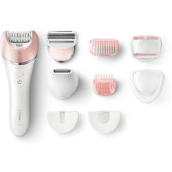 Philips Epilator Satinelle Advanced Wet & Dry BRE640/00, 32 puncte de prindere, 2 viteze, acumulator, alb