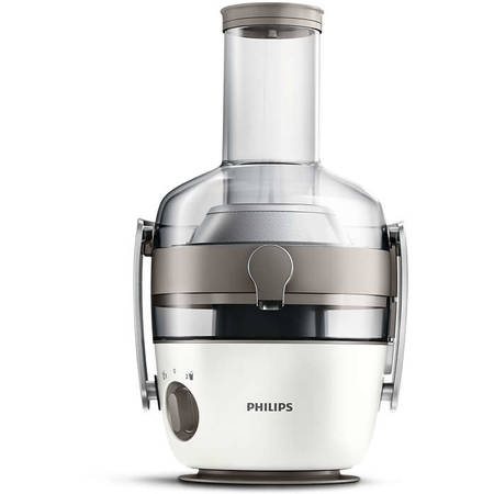 Philips Storcator de fructe si legume Avance Collection HR1918/80, 1000 W, recipient suc 1 l, recipient pulpa 2.1 l, 2 viteze Fiberboost, tub de alimentare XXL 80 mm, alb