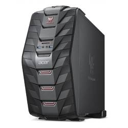 Sistem Desktop Gaming Acer Predator AG3-710 ,Intel Core i5-6400 2.70GHz, 8GB, 1TB + 128GB SSD, DVD-RW, nVIDIA GeForce GTX 1060 3GB, Free DOS, Black, Mouse + Tastatura