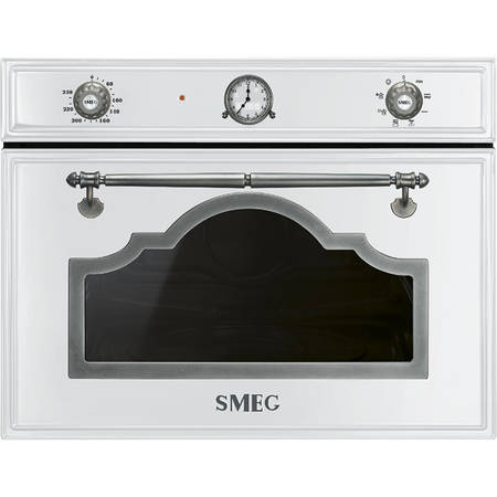 Smeg Cuptor cu microunde compact CORTINA 5 functii electric 45 cm inaltime alb/acc. arg. Antic