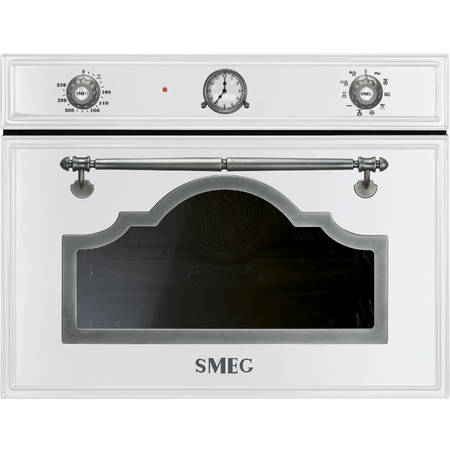 Smeg Cuptor cu microunde compact CORTINA 5+2 functii electric 45 cm inaltime alb/acc. arg. Antic