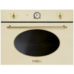 Smeg Cuptor cu microunde compact COLONIALE 6+4 functii electric 45 cm inaltime crem/acc. Aurii