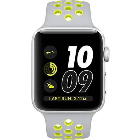 Apple Watch 2 Nike Plus Aluminiu Argintiu 38MM Si Curea Silicon Argintiu Galben