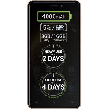 Telefon mobil Allview P9 Energy Mini, Dual SIM, 16GB, 4G, Gold