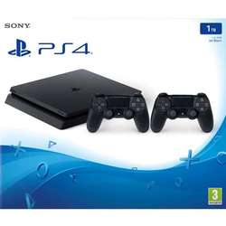 PS4 1TB D Chassis Black SLIM + 2 x Dualshock controller V2Consola Sony PlayStation 4 Slim 1TB + Extra Controler Dualshock 4