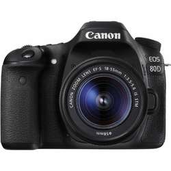 Canon Aparat foto DSLR EOS 80D BK, 24.2 MP,Wifi + Obiectiv EF-S 18-55mm IS STM