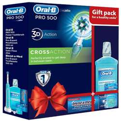 Oral-B Periuta electrica Pro500 Cross Action + Apa de gura Pro-Expert 500ml + Ata dentara Satin Floss 25m + Pasta de dinti Blend-a-Med Pro-Expert 100ml