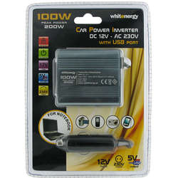 WHITENERGY Invertor Auto DC/AC de la 12V DC la 230V AC 100W, USB, mini
