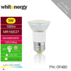 WHITENERGY Bec LED | E27 | 60 SMD 3528 | 3W | 230V | alb cald | reflector