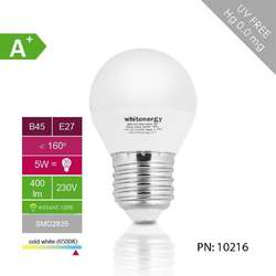 WHITENERGY Bec LED | 10xSMD2835| B45 | E27 | 5W | 230V |alb rece| laptos