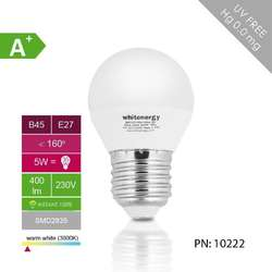 WHITENERGY Bec LED | 10xSMD2835| B45 | E27 | 5W | 230V |alb rece|