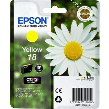 Epson Singlepack Yellow 18 Claria Home Ink3,3ml