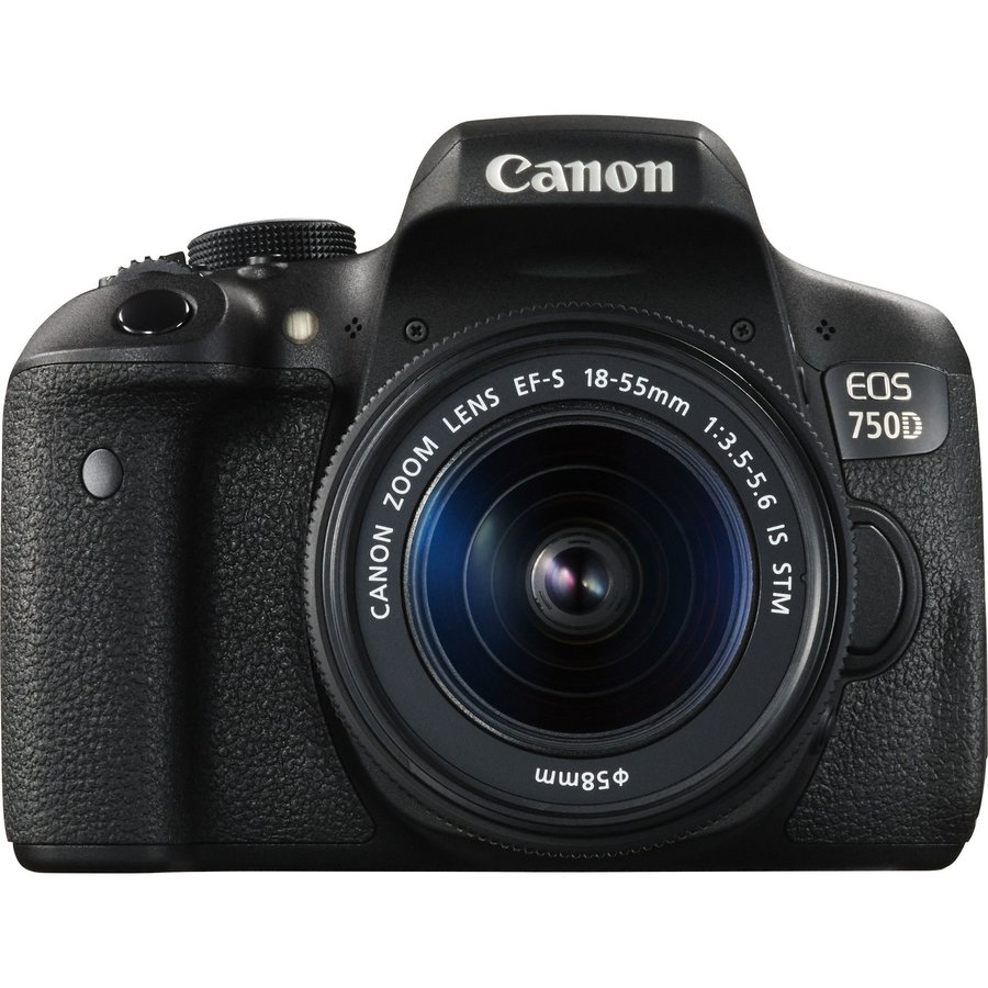 Aparat Foto Dslr Eos 750d, 24.2mp, Black + Obiectiv Ef-s 18-55mm Is Stm