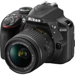 Nikon Aparat foto DSLR D3400, 24,2MP Black + Obiectiv AF-P 18-55mm VR