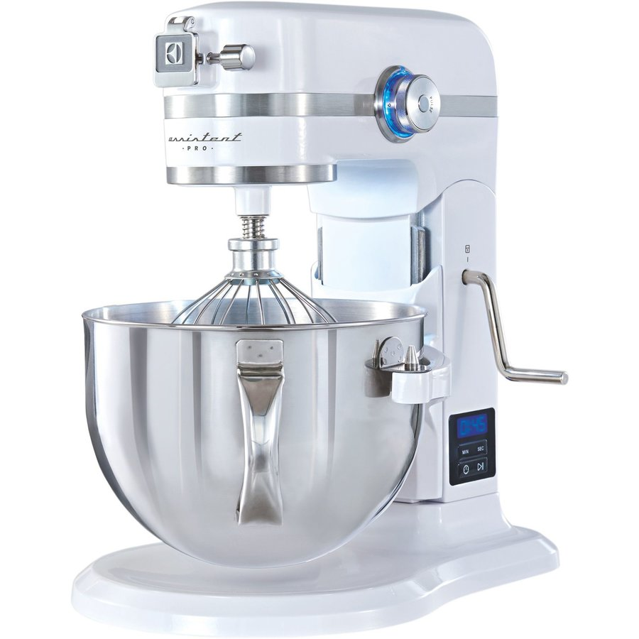 Robot de bucatarie Assistant Pro Kitchen EKM6100 cu lift, 1200W, display Led, 8 functii, bol 5.7 l, Alb/Inox