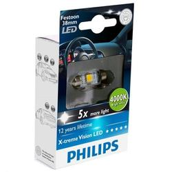 Bec auto LED auxiliar Philips C5W Xtreme Vision, 5 x more light, 12V, 1W, 4000K, 1 Buc