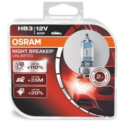 Set 2 becuri auto halogen pentru far Osram HB3 Night Breaker Unlimited, 12V, 60W