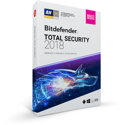 Antivirus Bitdefender Total Security 2018, 10 PC, 1 an, New license, Retail DVD