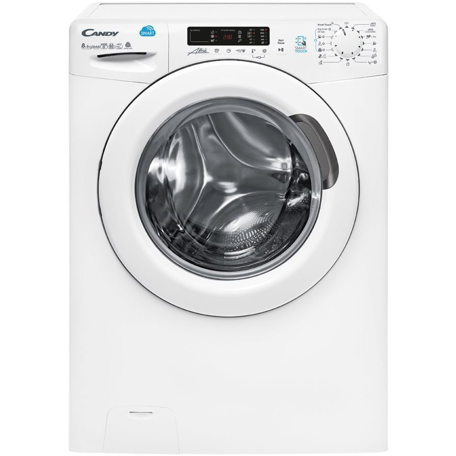 Masina de spalat rufe cu uscator Candy CSW 485D-S, 8 kg spalare, 5 kg uscare, 1400 rpm, functii Smart, NFC, Voice Control, 60 cm, clasa A, alb