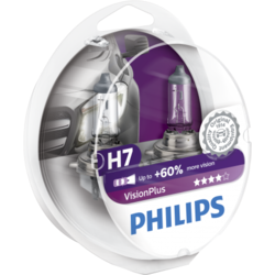 Set 2 Becuri auto far halogen Philips H7 Vision Plus, +60%, 12V, 55W