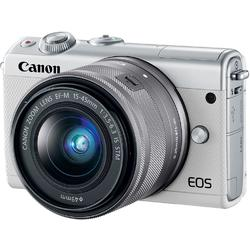 Aparat foto Mirrorless Canon EOS M100, 24.2 MP, White + Obiectiv 15-45 mm