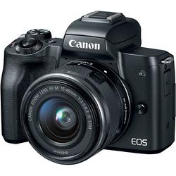 Canon Aparat foto mirrorless EOS M50, 25.8 MP, 4K, Wi-Fi, Negru + Obiectiv EF-M 15- 45mm f/3.5-6.3 IS STM